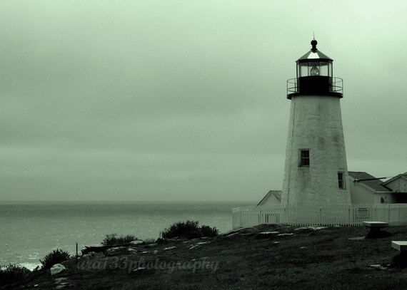 Maine Beach Art Photography Photo Pemaquid Point Picture Black White Lighthouse Picture Nautical Decor of Maine 5x7 Inch Print The Guardian