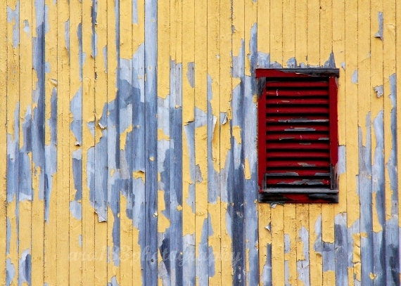 Rustic Photography - Yellow Barn, Still Life Photo, Blue, Red, Grey, Country Architecture - 5x7 inch Print - The Red Window