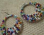Vintage colourful seed bead wirework earrings