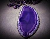 Necklace Set with Agate Slab Pendant, Amethyst and Coral Beads