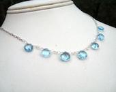 Swiss Blue Topaz Briolette Necklace Sterling Silver