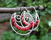 Matte Silver Double Hoop Earrings with Red Coral