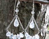 Rainbow Moonstone Teardrops Sterling Silver Chandelier Earrings