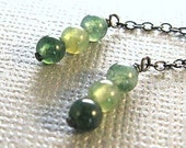 LUCKY - Moss agate and sterling silver earrings