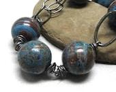 Blue bracelet sterling bracelet beaded chain, River Deep