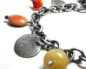 Charm bracelet chain bracelet orange bracelet gold, Grace