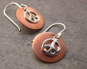 SALE!!!  30% OFF!!!  Peace Times 2 - Sterling Silver and Copper Earrings