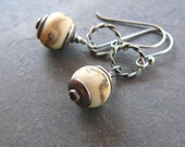 SALE!!!  30% OFF!!!  Fossils - Lampwork Glass and Sterling Silver Earrings