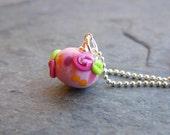 SALE!!!  30%OFF!!!  Pocket Full of Posies - Girls Glass Rosebud Pendant Necklace