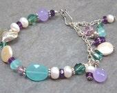 SALE!!!  30% OFF!!!  Sea of Love - Asymmetrical Pearl, Amethyst and Quartz Bracelet