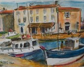 French Seaside Village of St Martin on the Island of Ile de Re'-Original Painting in Frame