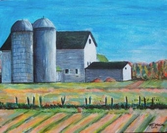 New Jersey Farm Buildings - Autumn Original Painting by Greeting Card Artist Jeff Sterling
