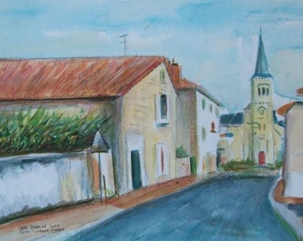 French Village near Poitiers Original Cityscape Painting in Frame by Florida and La Rochelle France Artist Jeff Sterling