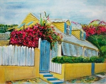 Caribbean Art -  Charming Bahamas Yellow Cottage 100% Original Painting in Frame