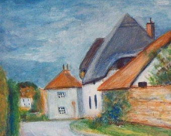 Cotswolds Village - English Cottages Original Painting in Frame by Artist Illustrator Jeff Sterling