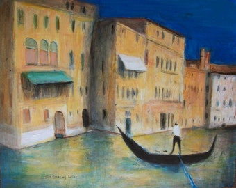 Venice Gondola on the Grand Canal at Sunset - Original Painting in Frame