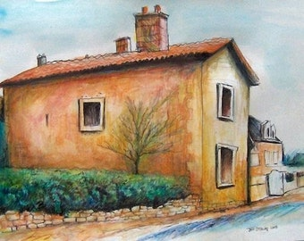 Country Homes in French Village - Original Painting Ready to Hang in Frame by Greeting Card Artist Jeff Sterling