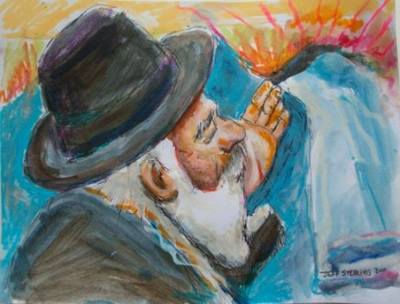 Judaica Jewish Art - Bless This Day - Original Painting in Frame