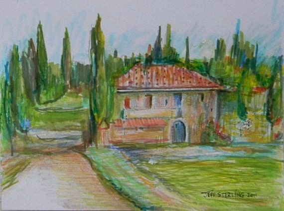 Good Morning Tuscany-Original Italian Landscape Painting in Frame by Miami Artist Illustrator Jeff Sterling