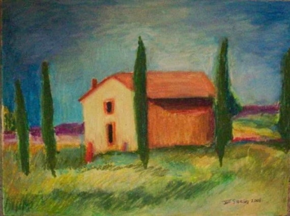 Tuscany  Farmhouse Original OIL PASTEL in FRAME Ready to Hang