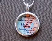 Lisbon Portugal - Soldered Vintage Map Necklace