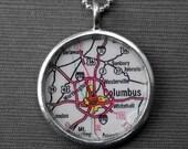 Columbus Ohio - Pendant Necklace Jewelry Vintage Map - Great Graduation Gift