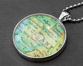 Tuscany - Vintage Map Necklace