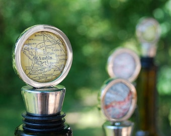 Custom Map Bottle Stopper - You Pick City - As Seen in Capital Style - Personalized Map Wine Stopper - Wedding Favor