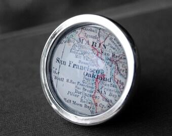San Francisco California - Drawer Pull Cabinet Knob Handle Vintage Map