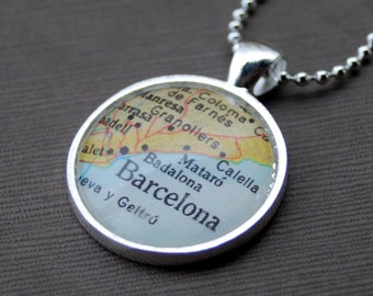 Barcelona Spain - Map Necklace Pendant - Great Gift