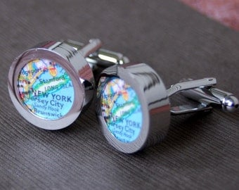 New York City - Vintage Map Cuff Links - Great Gift