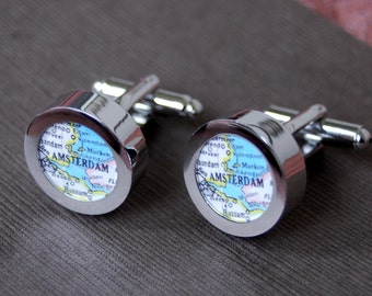 Amsterdam - Vintage Map Cuff Links - Great Gift