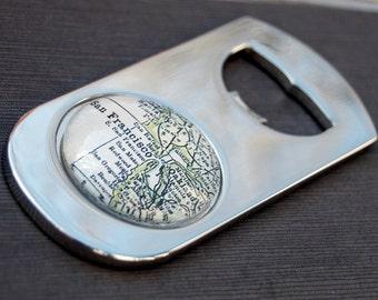 San Francisco California Bottle Opener - Vintage Map - Great Groomsmen Gift