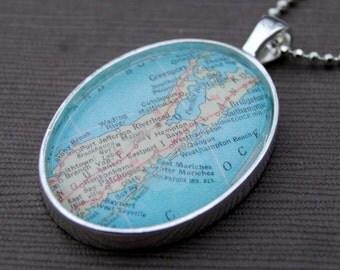 Long Island Map Necklace - Custom Map Jewelry - Montauk - Hamptons - Great Gift