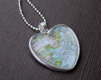 Outer Banks Map Heart Necklace
