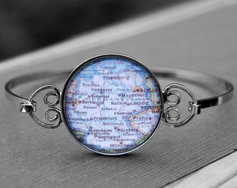 Germany Bracelet Bangle Jewelry - Vintage Map