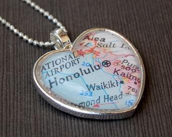 Honolulu Waikiki Map Heart Necklace