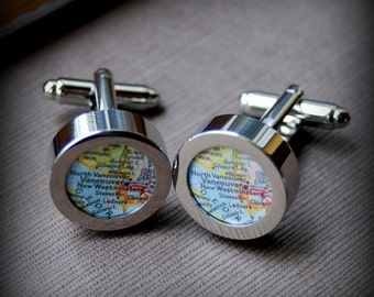 Vancouver Map Cuff Links - Makes a Great Gift