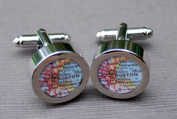 Boston Massachusetts - Vintage Map Cuff Links - Great Gift
