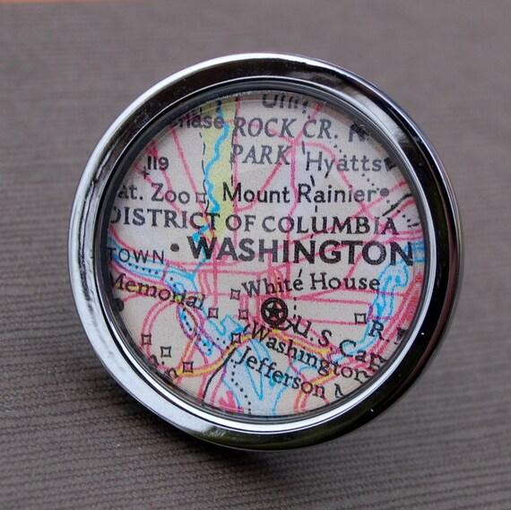 Washington DC - Drawer Pull Cabinet Knob Handle - Vintage Map