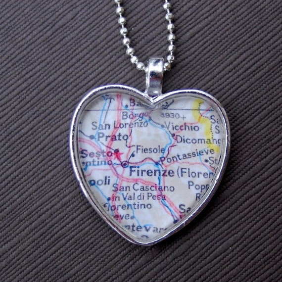 Florence Italy Map Heart Necklace