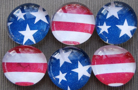 Stars and Stripes - Glass Pebble Magnets - Set of 6