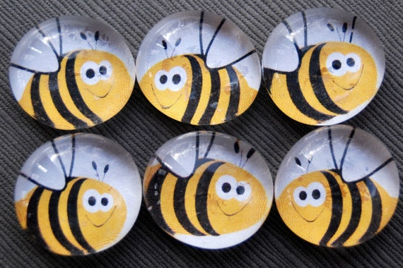 Bzzz Bees - Glass Pebble Magnets - Set of 6