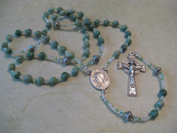 Reserved For J. O'Driscoll - (2) China Jade Rosaries with Celtic Crucifix