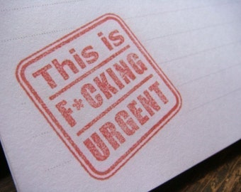 "This is F cking Urgent Notepad - Mature content, 20 lined sheets, 4.25"" x 5.5"", recycled cardboard back,"