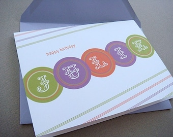 Personalized Happy Birthday Mardi Gras Card with envelope, blank inside