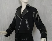 Black Denim and Pleather Motorcycle Jacket with Chain Fringe aNGrYGiRL Gear