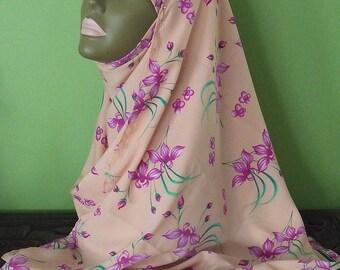 Shayla Hijab - Peach with Fushia Floral Scarf