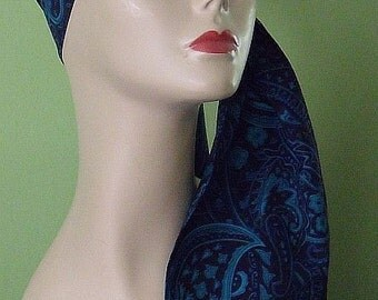 Skinny Underscarf Scarf Hijab Royal Blue Turquoise Paisley