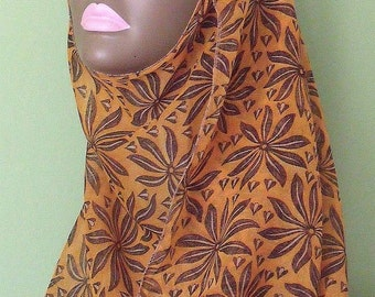 Shayla hijab scarf mustard yellow brown floral